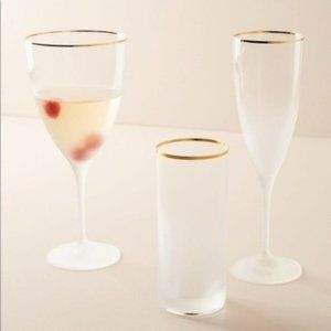 New! Anthropologie Frosted Wine Glasses Set of 4